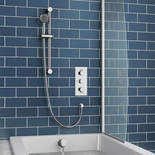 Jemima Concealed Shower Valve, Slide Rail Kit & Overflow Bath Filler